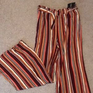 High waisted belted stripe pants